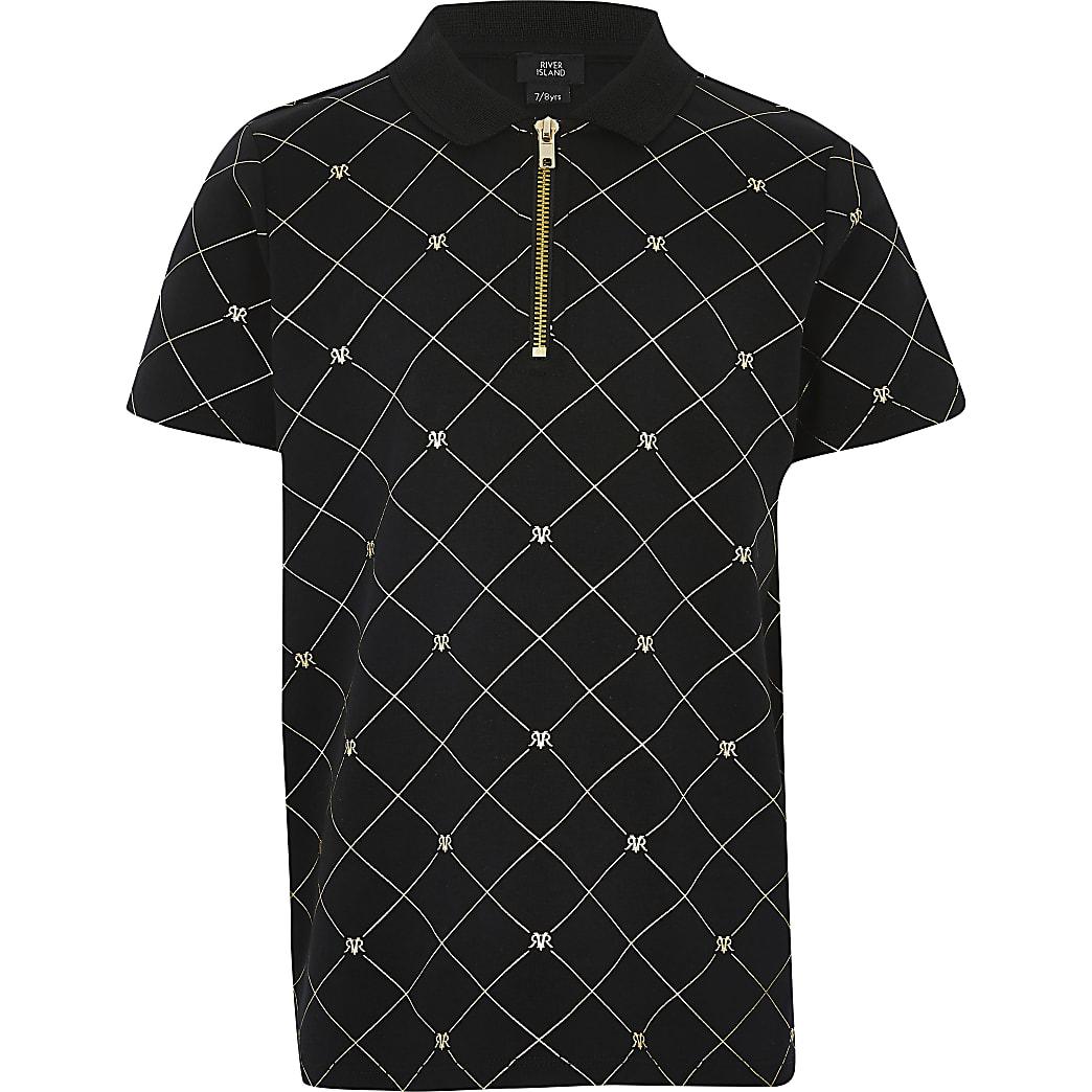 Boys black RI foil monogram zip polo shirt