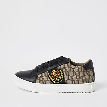 Boys black RI jacquard trainers
