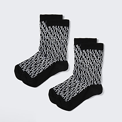 Boys black RI monogram 2 pack socks
