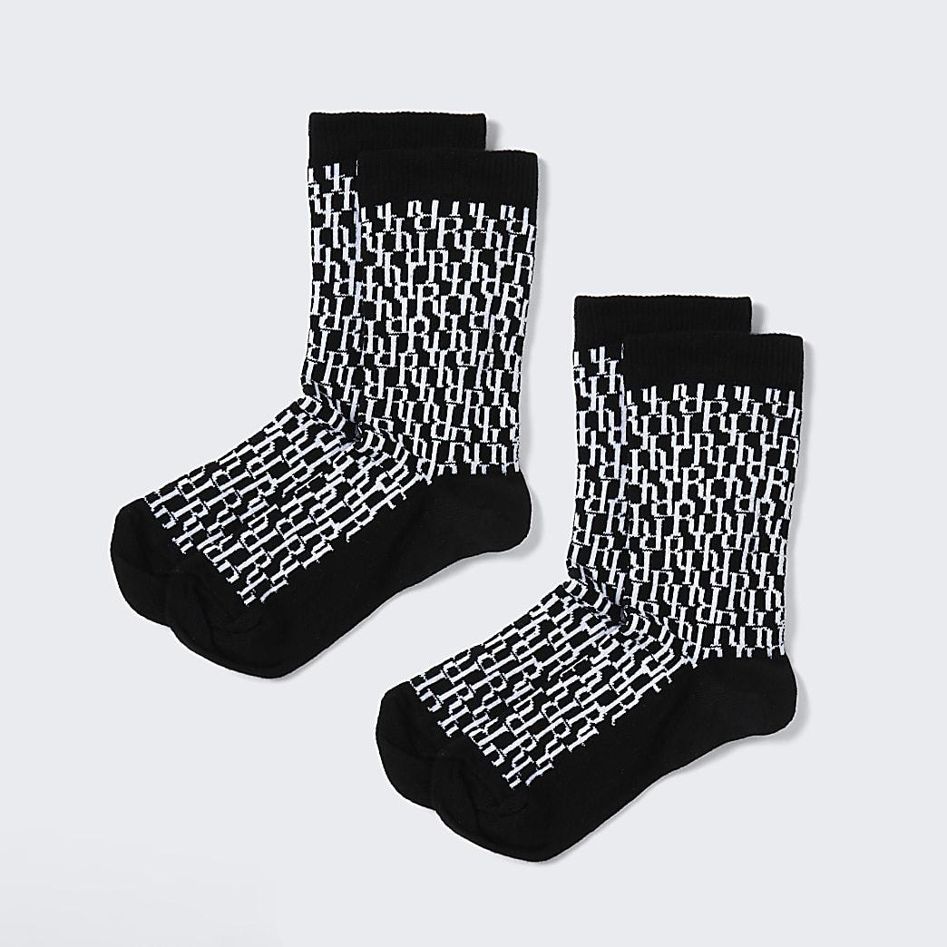 Boys black RI monogram 2 pack socks