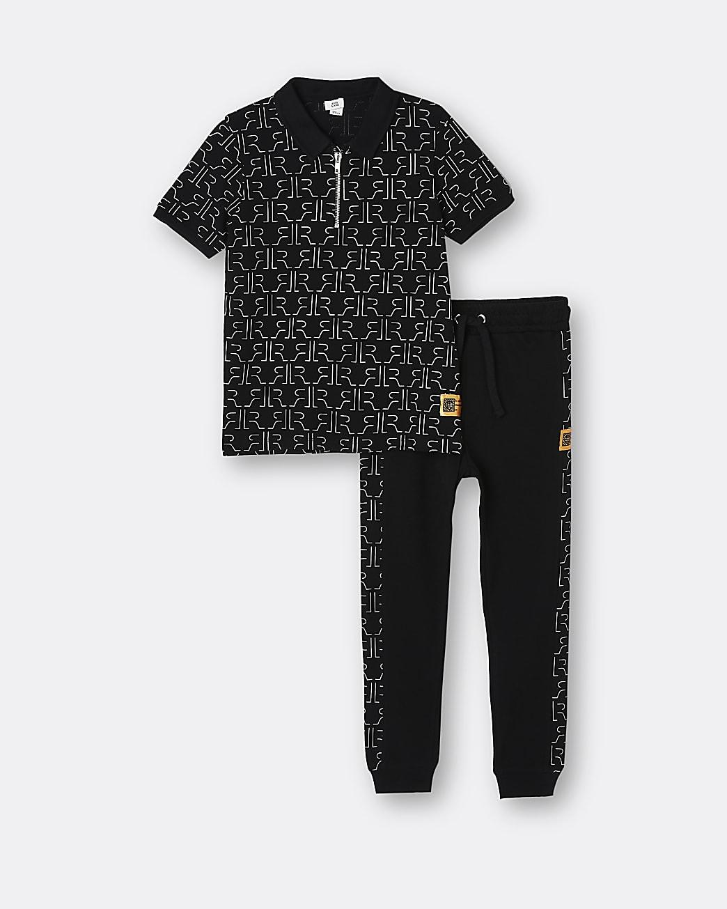 Boys black RI monogram 2 piece outfit