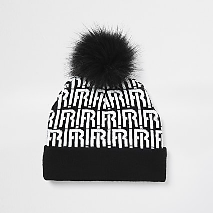 Boys black RI monogram beanie hat