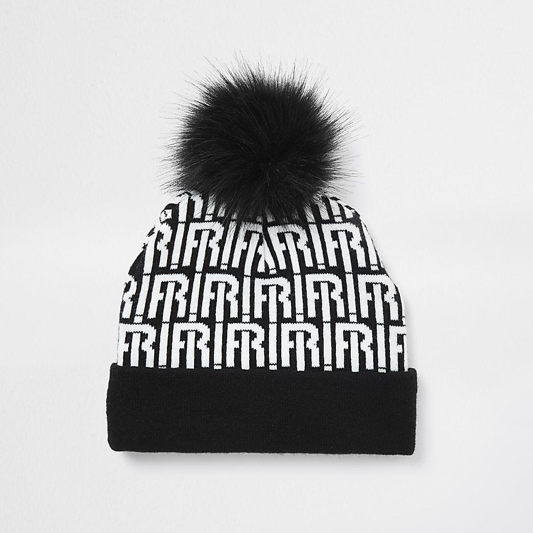 Boys black RI monogram beanie hat