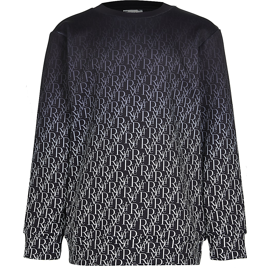 Boys black RI monogram fade sweatshirt