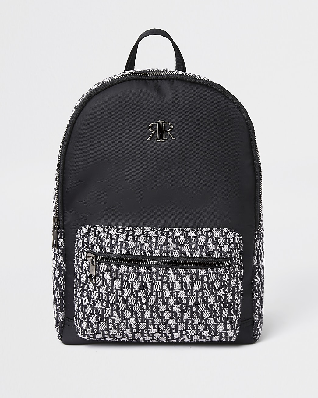 Boys black RI monogram jacquard backpack
