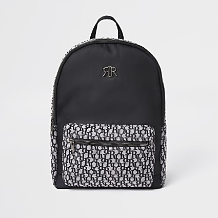 Boys black RI monogram jacquard backpack