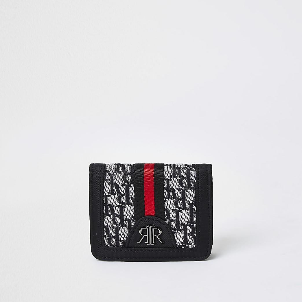 Boys black RI monogram jacquard wallet