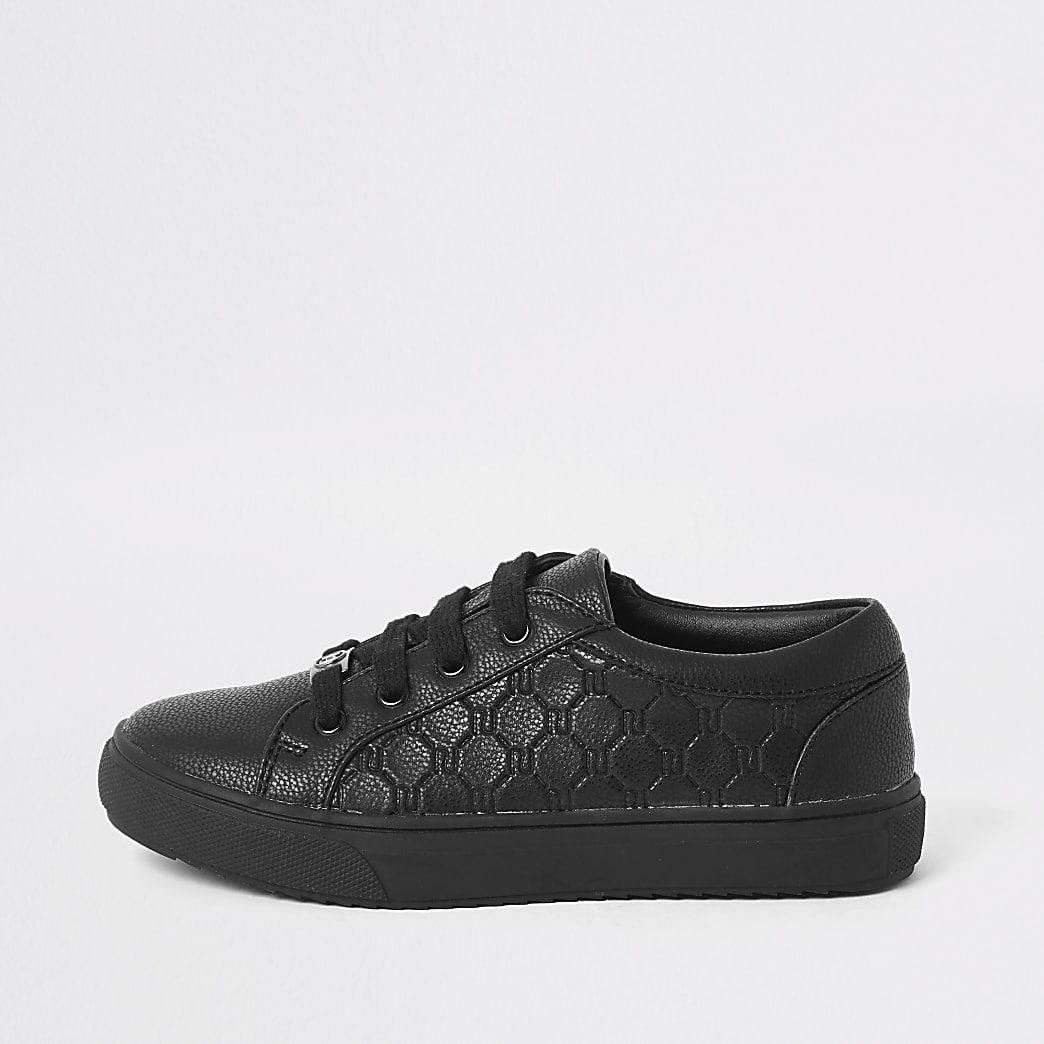 Boys black RI monogram Lace up trainers