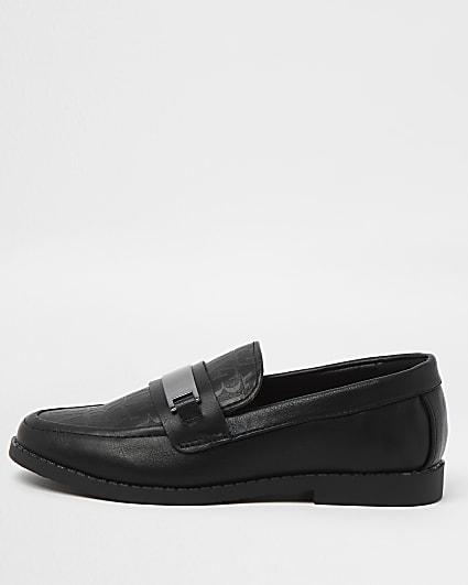 Boys black RI monogram loafers