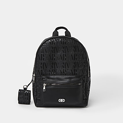 Boys black RI monogram nylon backpack