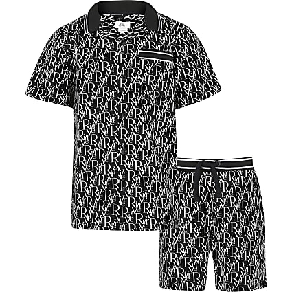 Boys black RI monogram outfit