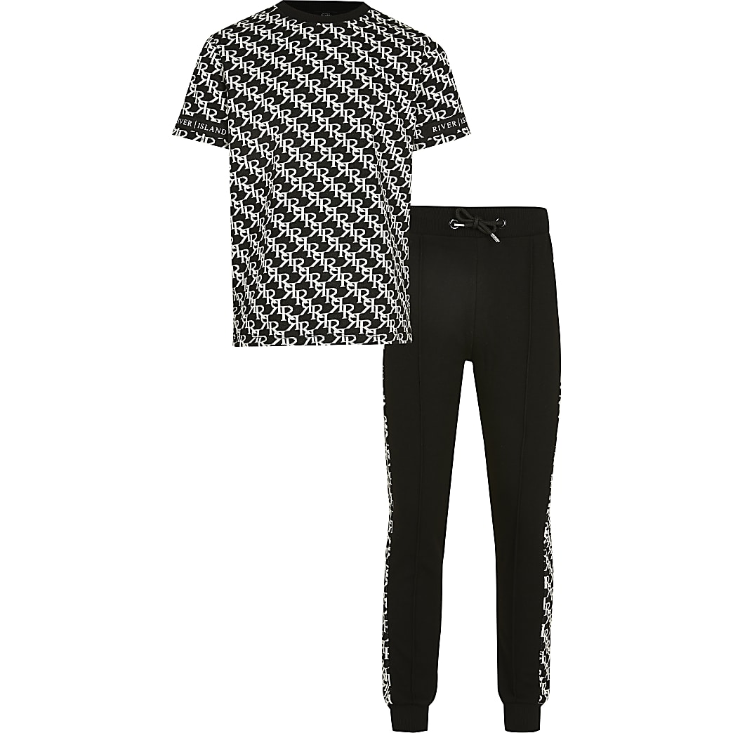 Boys black RI monogram outfit