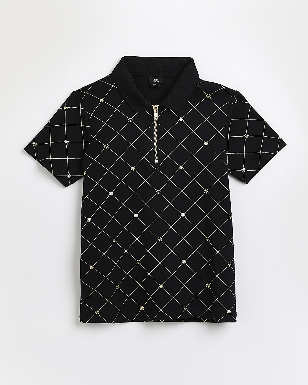 Boys black RI monogram polo shirt