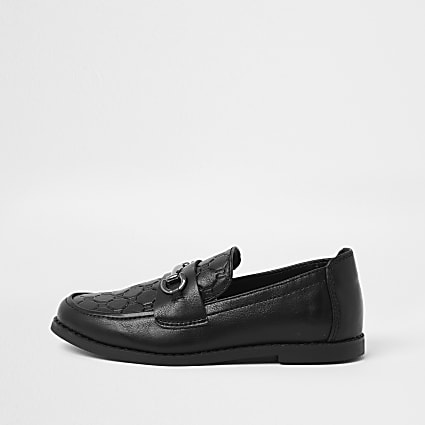 Boys black RI monogram snaffle loafers