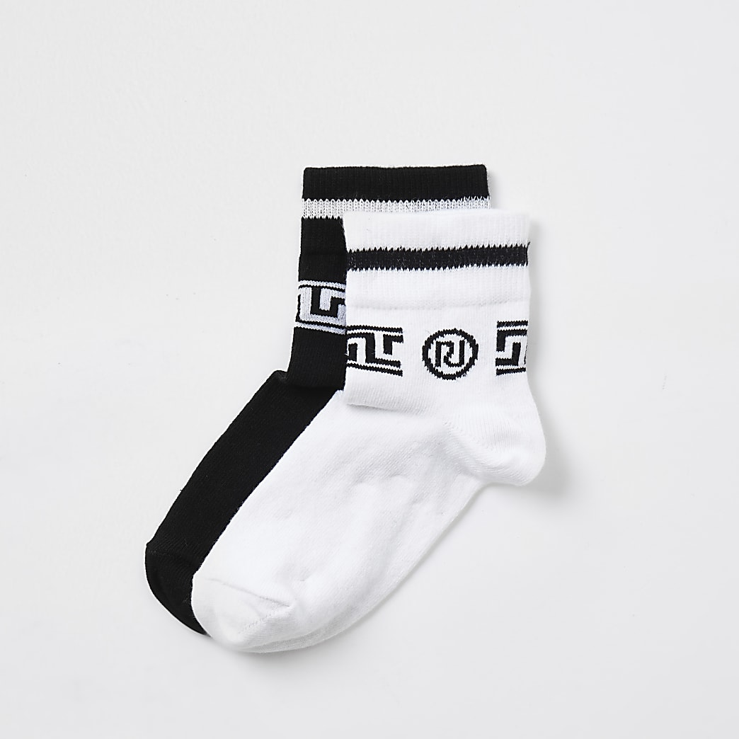 Boys black RI monogram sport socks