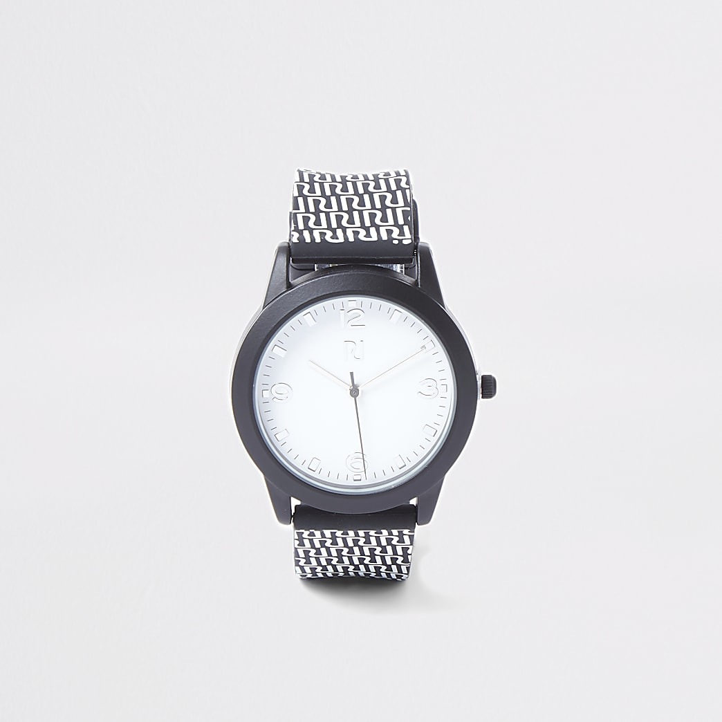 Boys black RI monogram watch