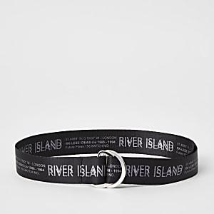 Boys black RI printed belt