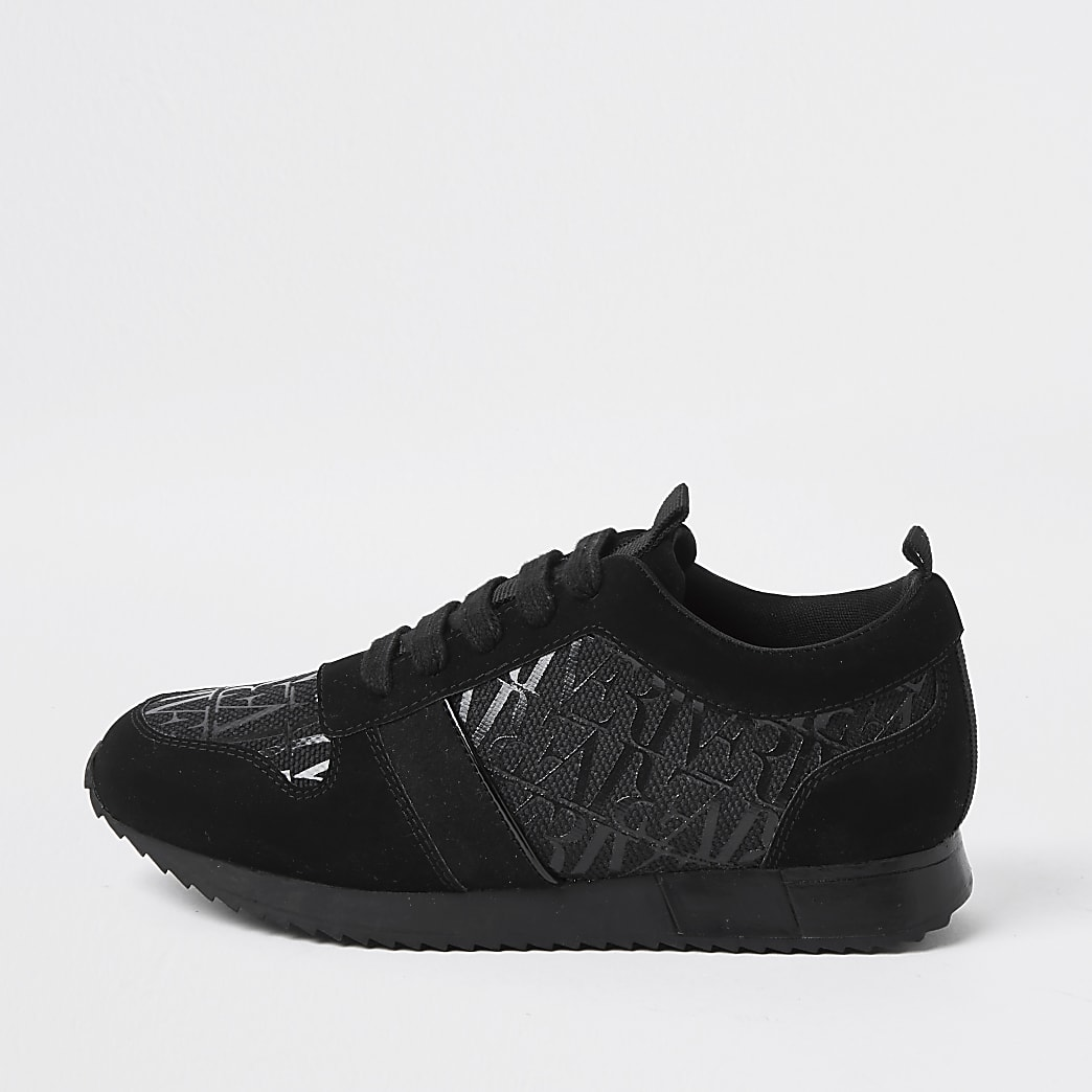 Boys black RI printed lace-up runner