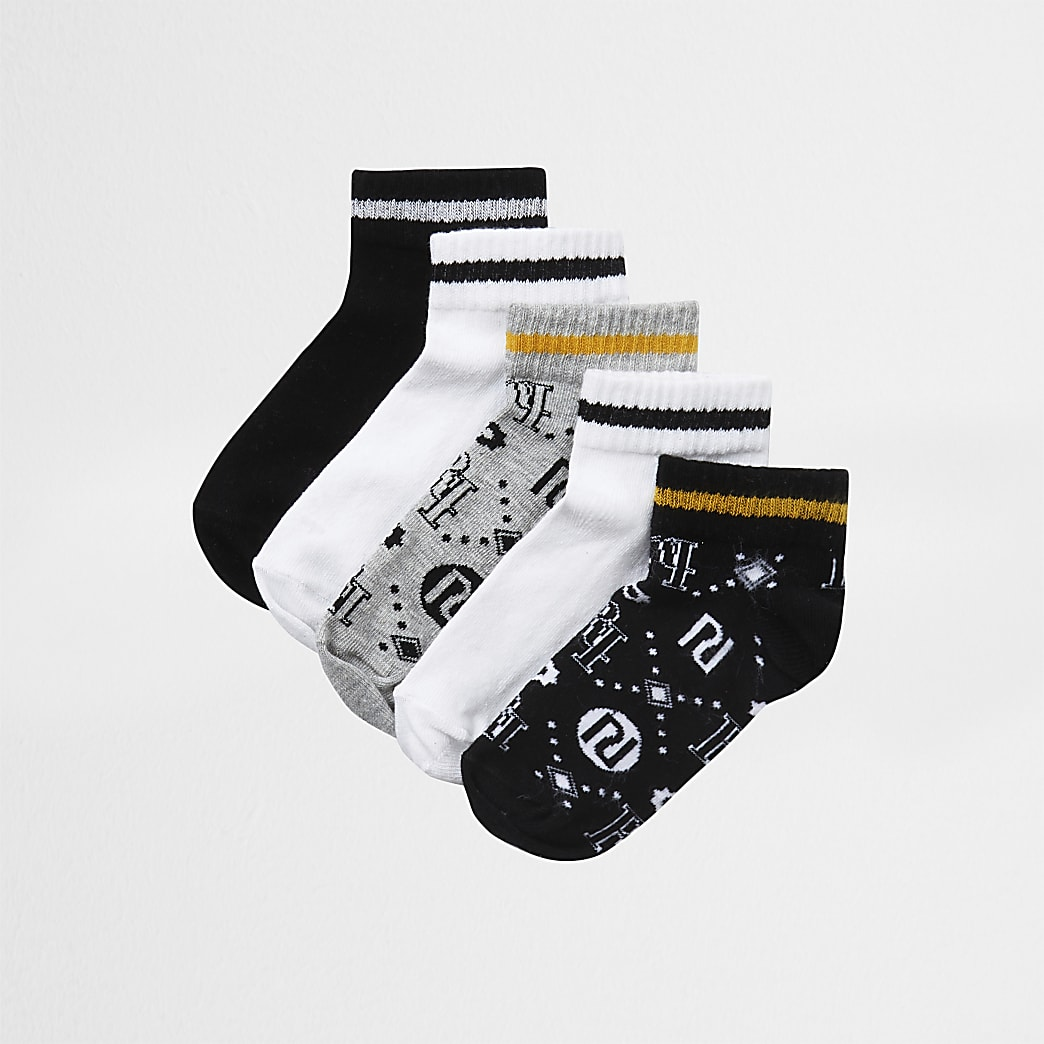 Boys black RI trainer socks 5 pack