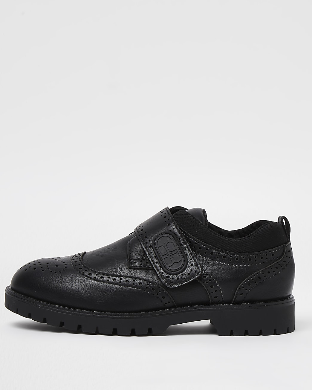 Boys black RI velcro brogue shoes