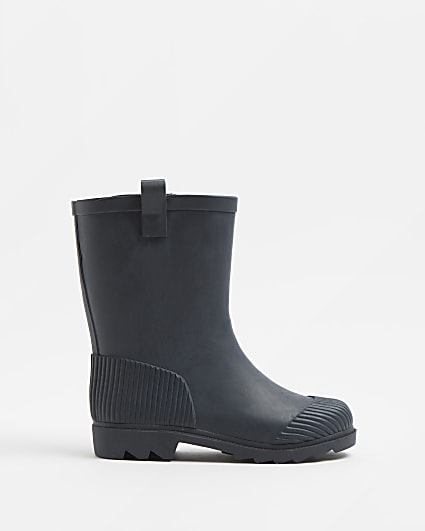 Boys black ribbed wellie boots