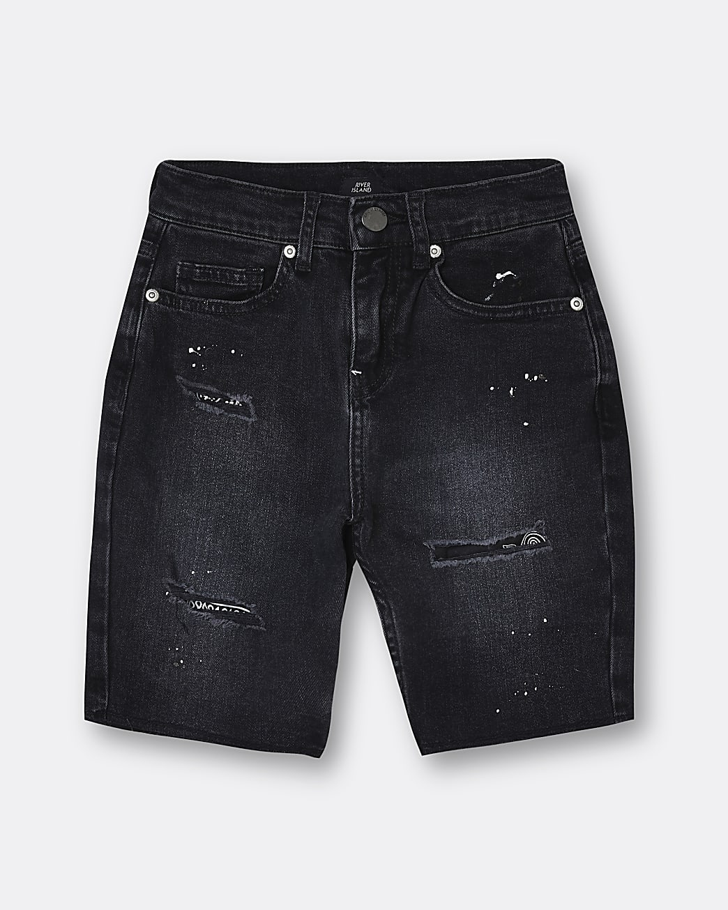 Boys black ripped shorts