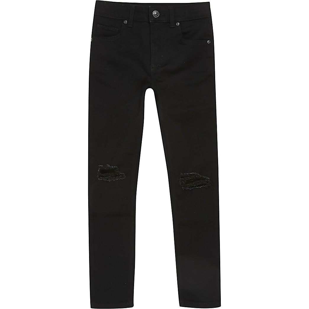 Boys black ripped skinny jeans