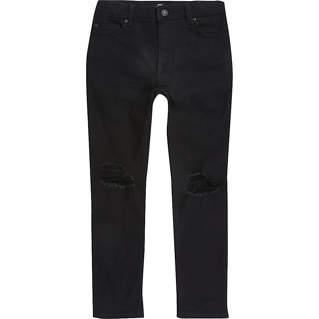 Boys black ripped skinny Sid jeans