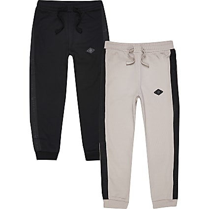 Boys black RIR diamond badge joggers 2 pack