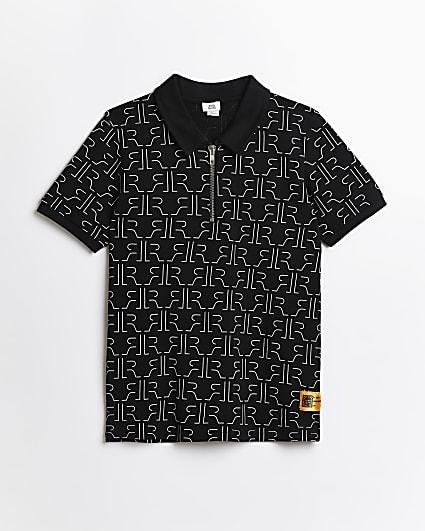 Boys black RIR monogram polo shirt