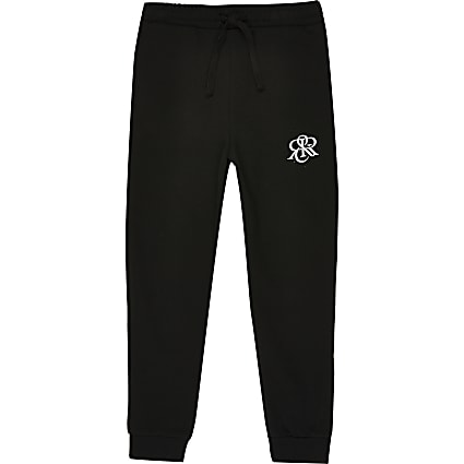 Boys black RIR printed joggers