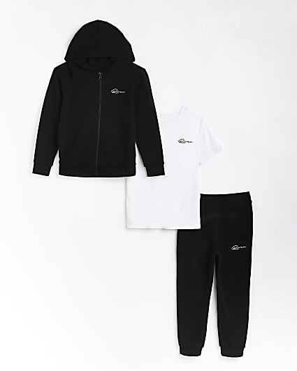 Boys black River 3 piece joggers outfit