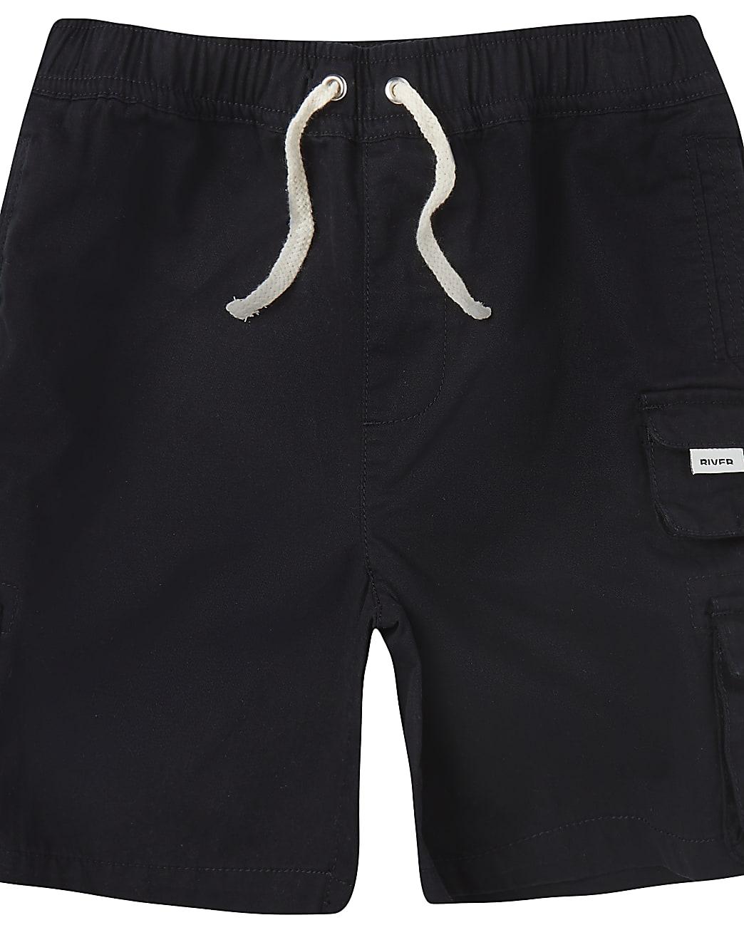 Boys black River cargo shorts