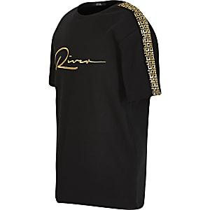 Schwarzers T-Shirt mit River-Stickerei und Ärmelborte für Jungen