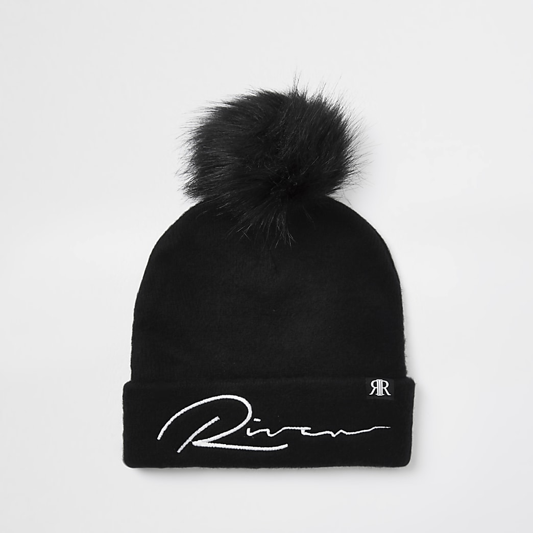 Boys black river mono beanie