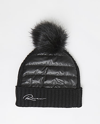 Boys black River quilted beanie hat