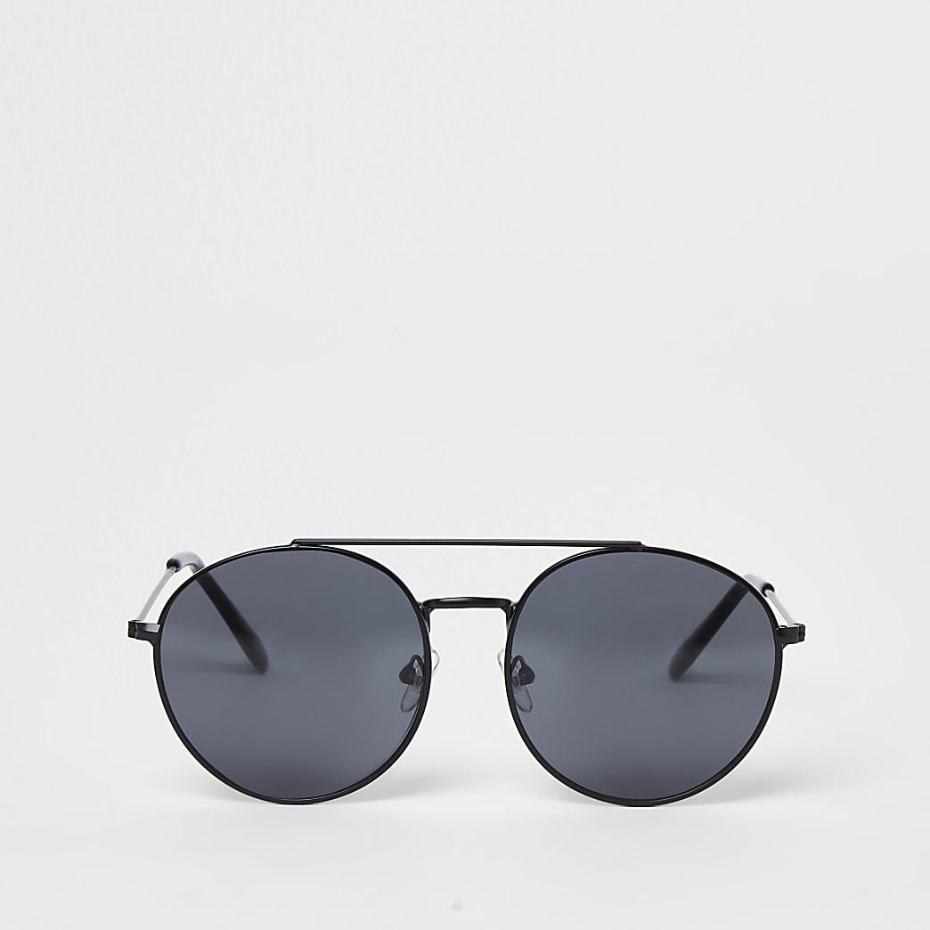 Boys black round metal sunglasses