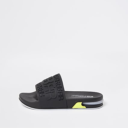 Boys black RR bubble sole sliders