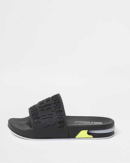 Boys black RR bubble sole sliders