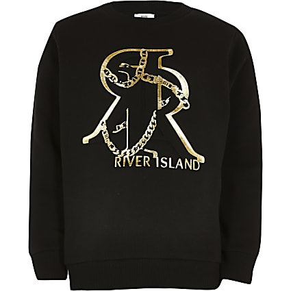 Boys black RR foil embossed sweatshirt
