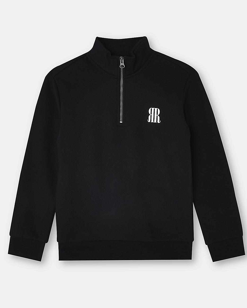 Boys black RR funnel neck sweatshirt