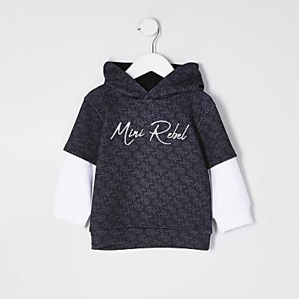 Boys Black 'RR' monogram print hoodie