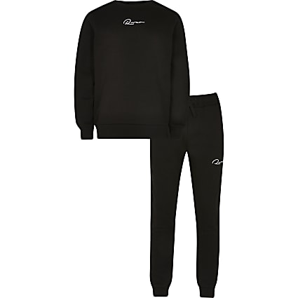 Boys black RR sweatshirt and jogger outfit