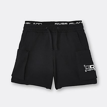 Boys black RR waistband shorts