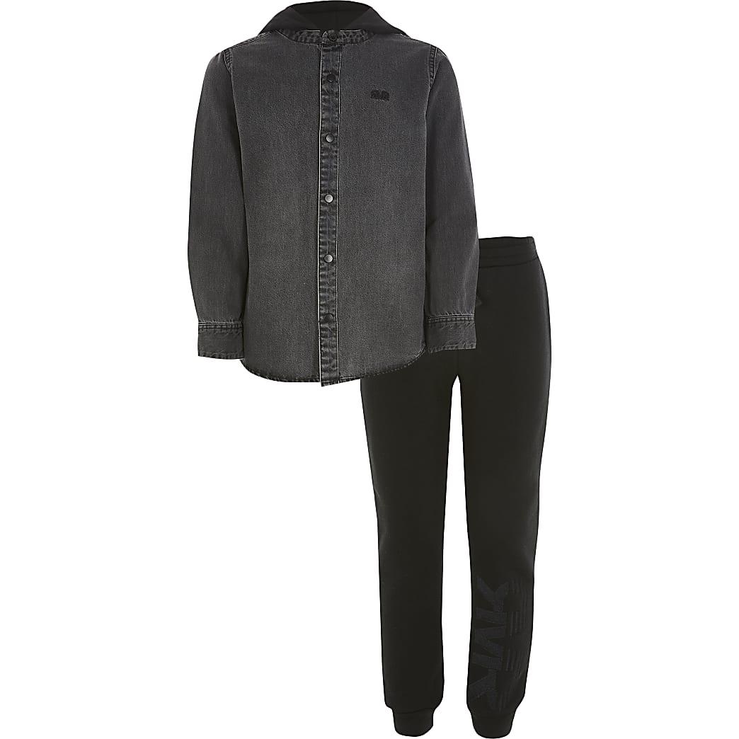 Boys black RVR hooded denim shirt outfit
