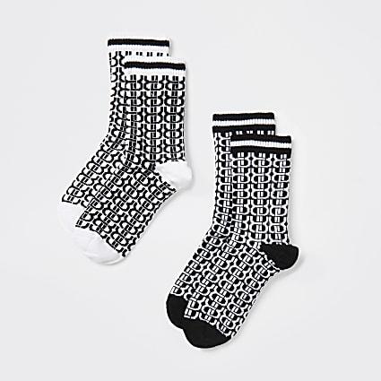 Boys black 'RVR' monogram socks 2 pack