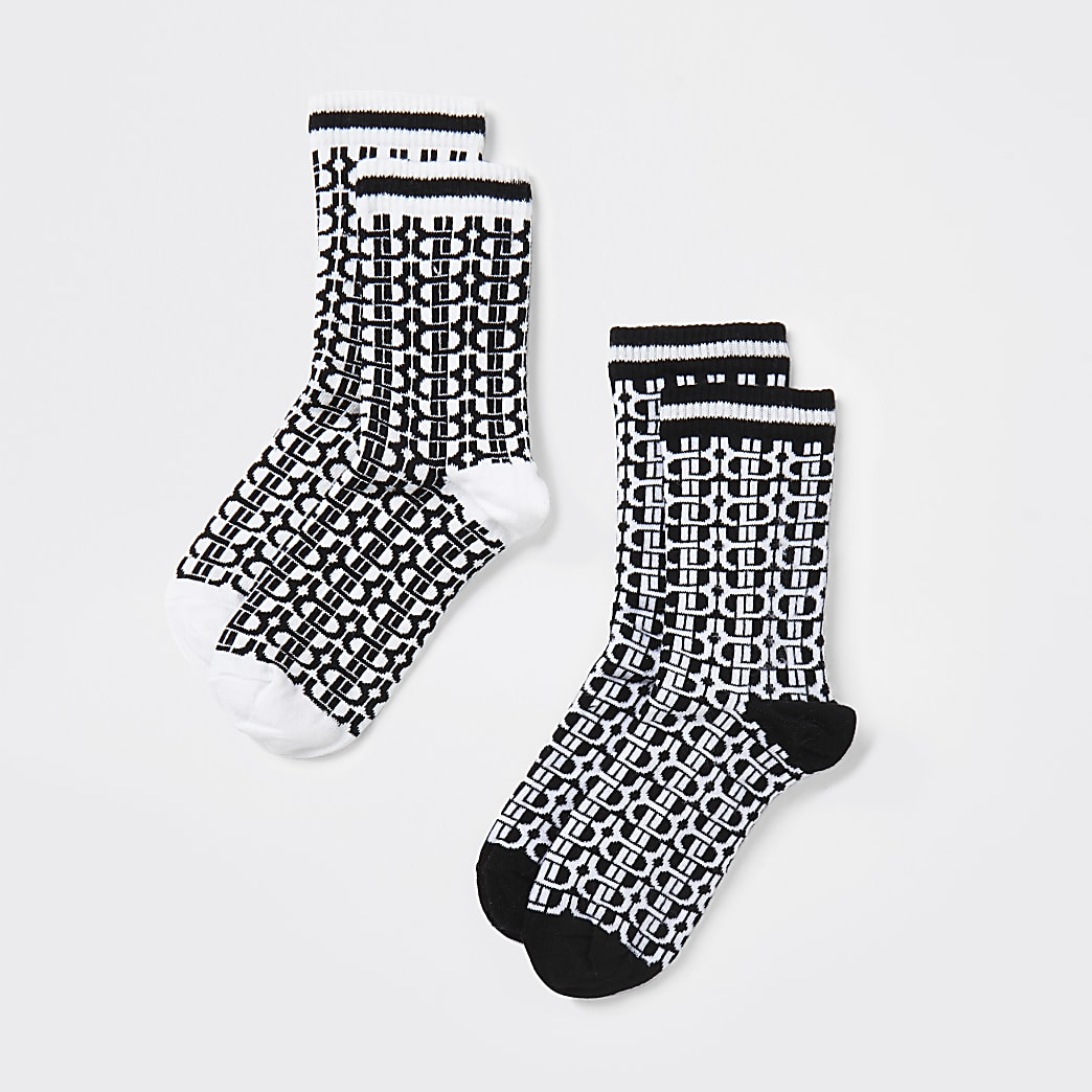 Boys black 'RVR' monogram socks 2 pack
