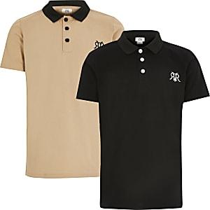 Schwarzes RVR-Poloshirt für Jungen, 2er-Set