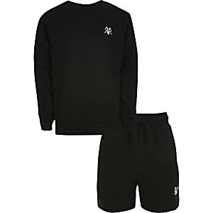 Boys black RVR sweat and short set