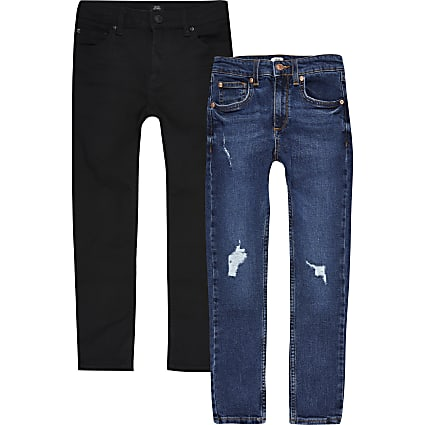 Boys black Sid skinny fit jean 2 pack
